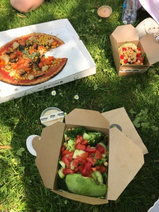Salads and Pizza in the sun