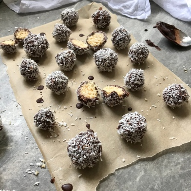 Chocolate Coated Coconut Bliss Balls