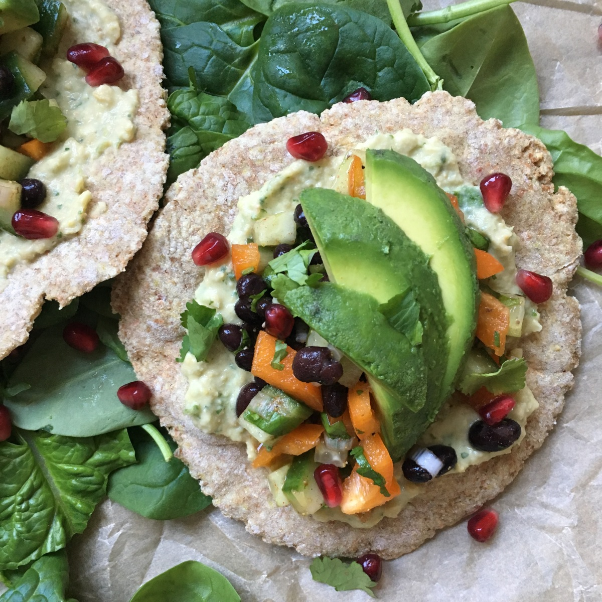 Easy Fluffy Flatbread with Hummus and Avocado