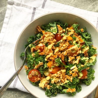 Bacon Bits Tempeh Kale & Lentil Salad w/ a Creamy Turmeric dressing