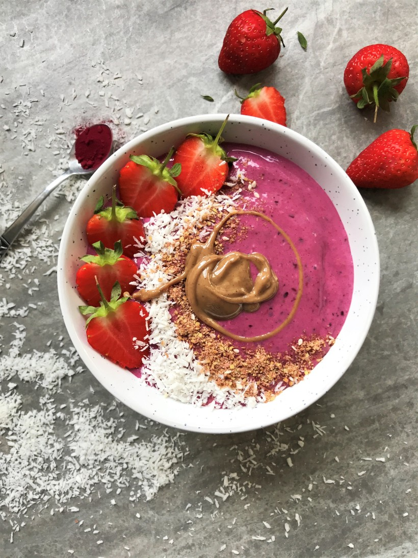 Forest Fruit Berry and Coconut Smoothie Bowl