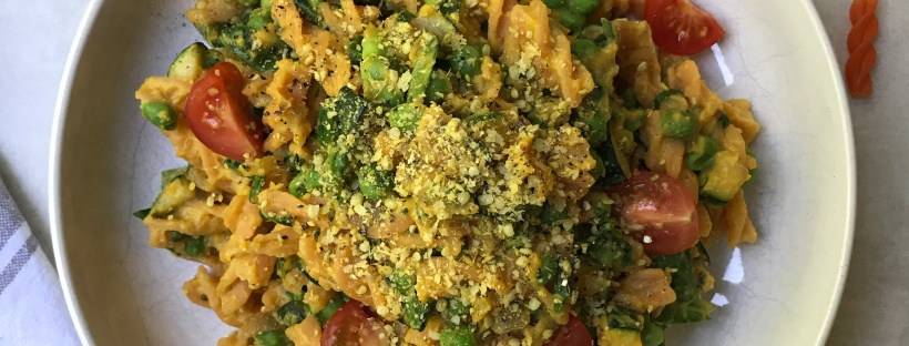 Butternut Squash Mac n Cheezey Greens with Cheezey Hemp Sprinkle