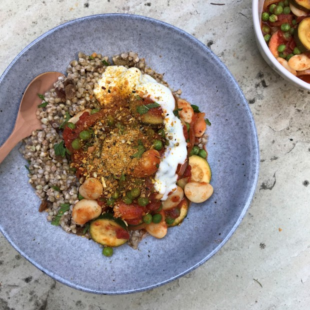 Egyptian Spiced Courgette and Butter Beans with Turmeric Dukkha