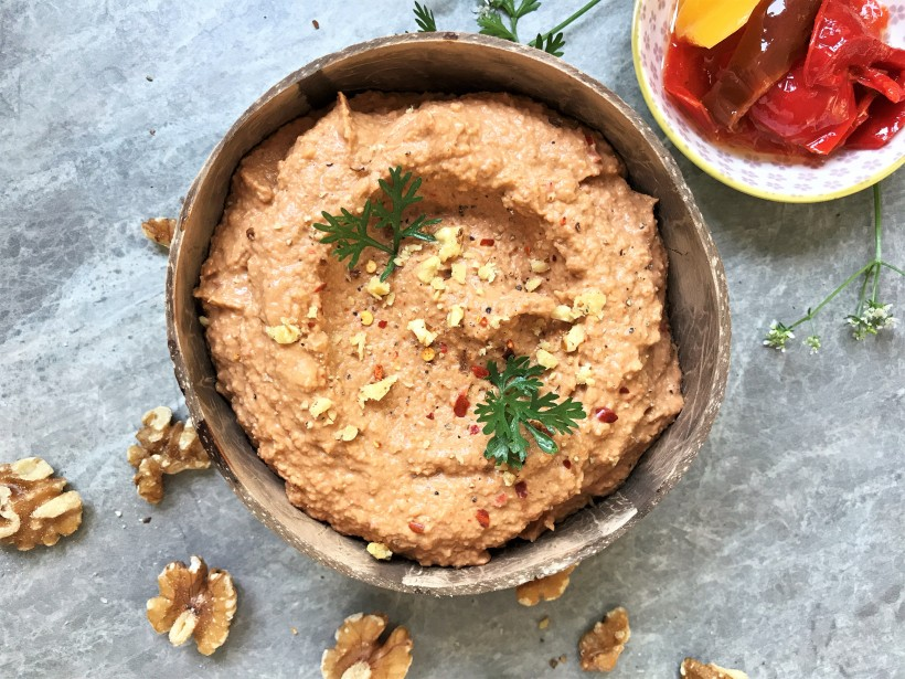 Smoked Red Pepper and Walnut Hummus