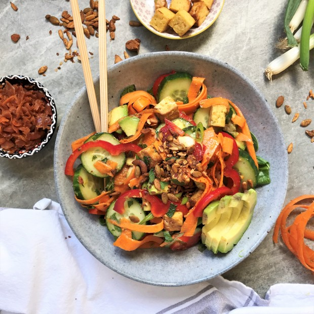 Spicy Ginger Cucumber Salad with Smoked Tofu