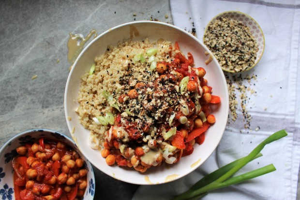 Rich Red Pepper and Chickpea Stew with Hazelnut Dukkha