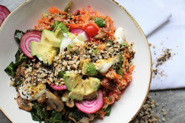 Beetroot and Date Quinoa with Tamari Kale and Mushrooms