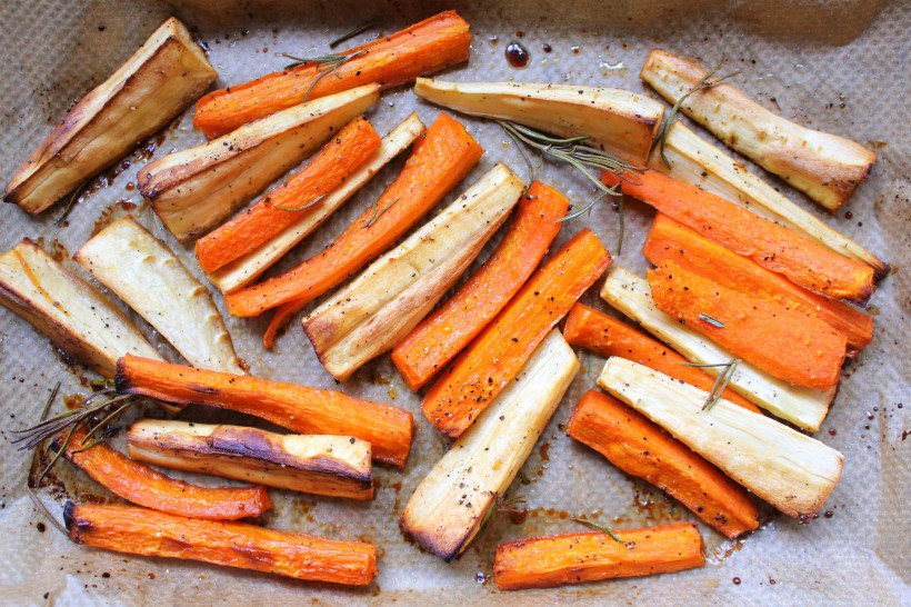Coconut Honey Roasted Parsnips and Carrots