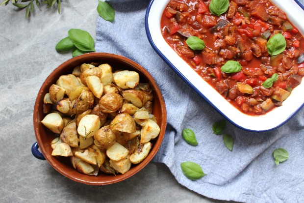 Sicilian Caponata with Rosemary Roasted New Potatoes