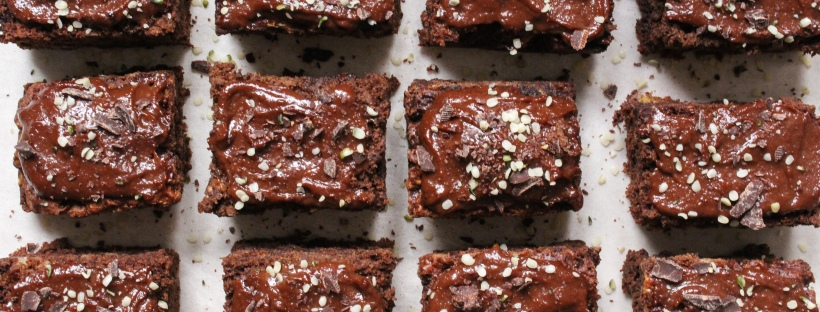 Double Chocolate Banana Bread Brownies with Dark Chocolate Tahini Ganache