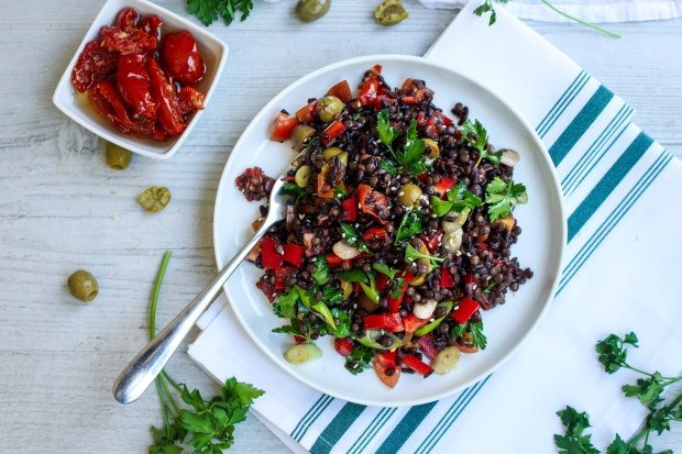 Black Rice and Lentil Mediterranean Salad