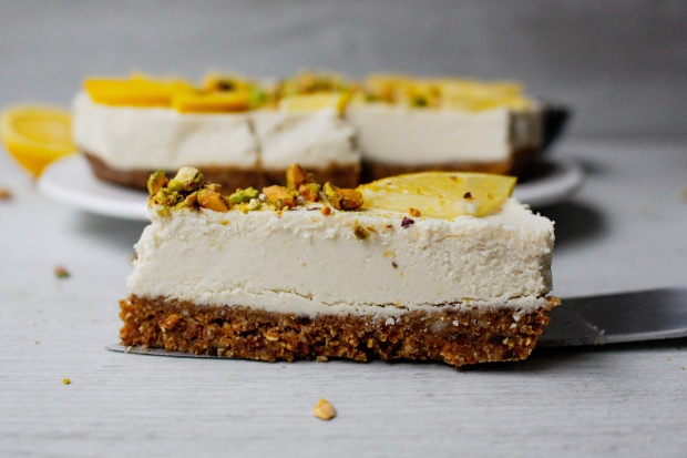 Raw Lemon and Pistachio Cheesecake