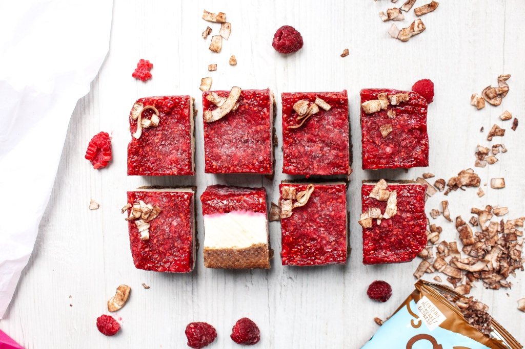 Chocolate Coconut Raspberry Cheesecake Slices