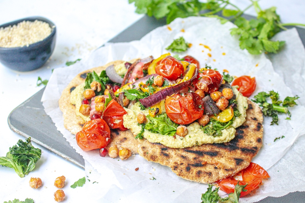 Crunchy Chickpea, Kale Crisp and Burst Tomato Flatbreads