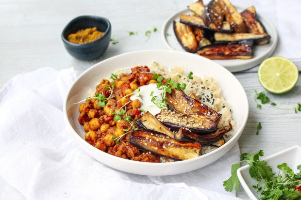 Sticky Asian Aubergine with Coconut Rice and Curried Chickpeas
