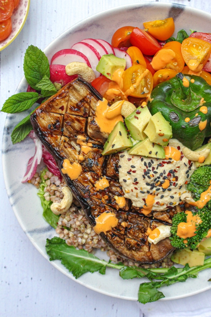 Sticky Sweet Chilli Aubergine and Hummus Rainbow Bowl