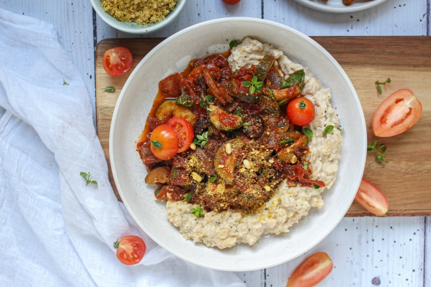 Sundried Tomato and Olive Ragu with Tahini Butter Bean Mash