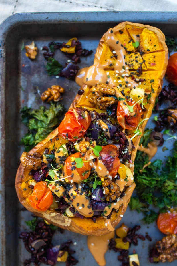 Wild Rice Stuffed Butternut Squash with Glazed Walnuts and Tahini Cream