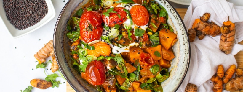 Burst Tomato and Sweet Potato Curry
