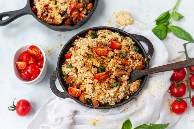 Tomato and Chickpea Pasta Bake with Tempeh Crumble