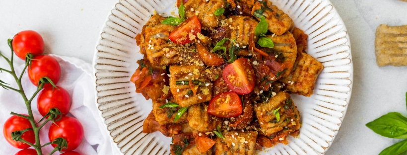 Cauliflower Gnocchi (Vegan and GF) with Balsamic Tomato and Basil Sauce