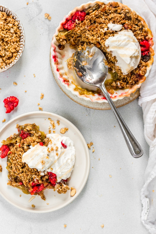 Rhubarb and Raspberry Crisp (Vegan GF)