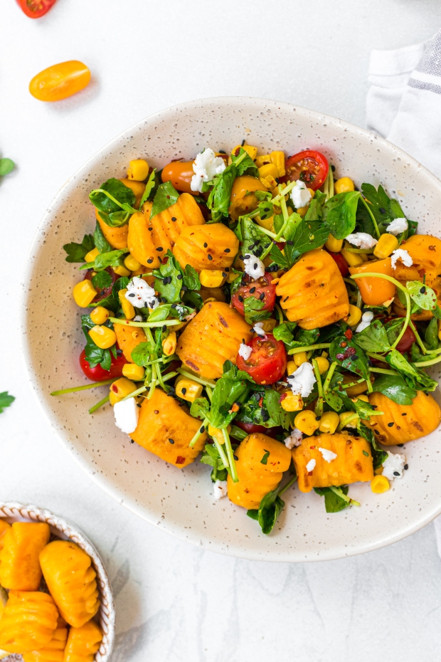 Sweet Potato Gnocchi and Tricolore Gnocchi Salad