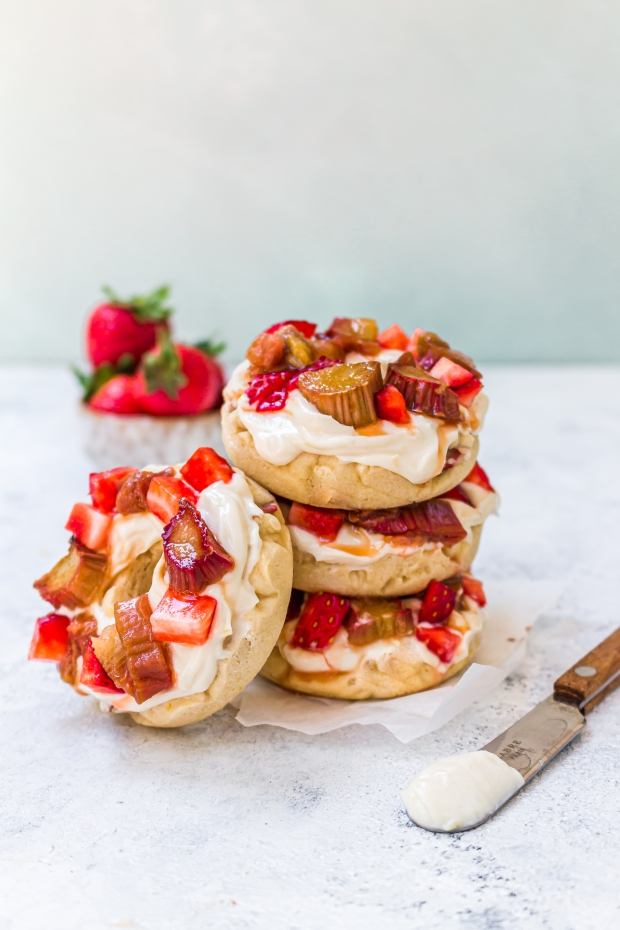 Rhubarb and Lemon Donuts with Cream Cheese Frosting