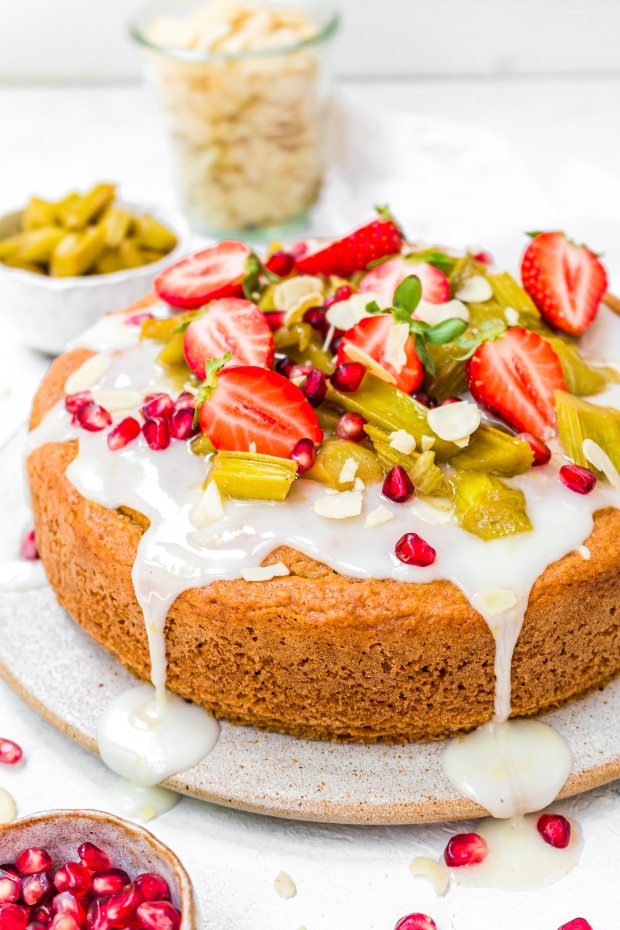 Vegan Almond Lemon and Rhubarb Cake
