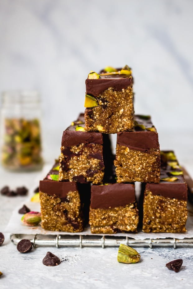 Chocolate and Pistachio Cookie Dough Bars