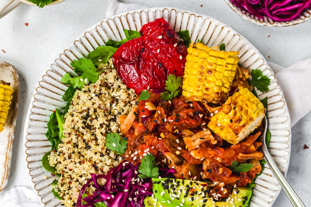 BBQ Jackfruit Bowls with Grilled Corn
