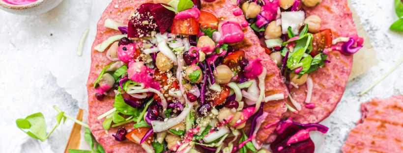 Beetroot Flatbreads with Crunchy Slaw and Chickpeas