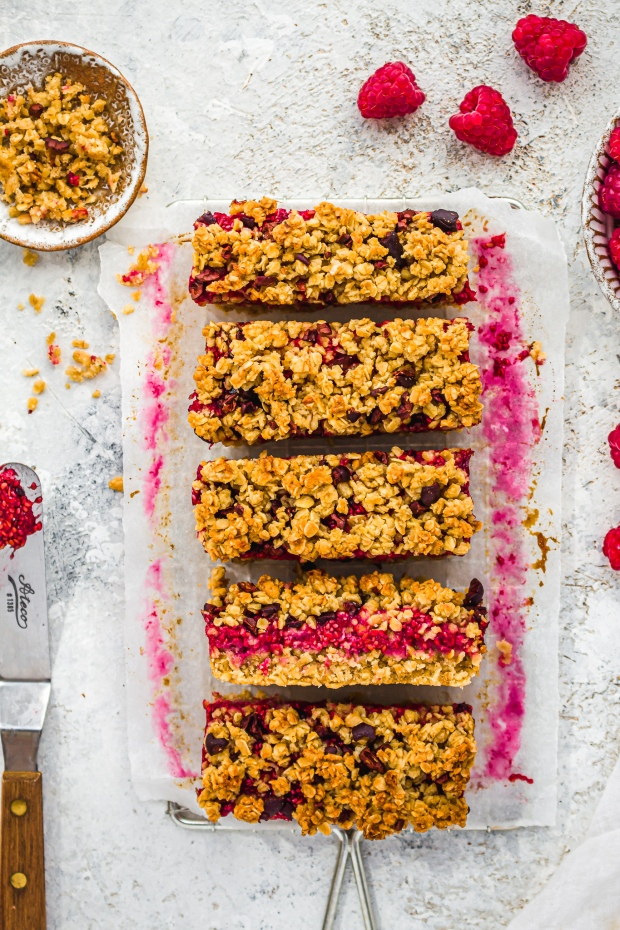Raspberry Oat and Cacao Nib Crumble Bars