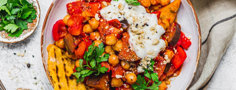Aubergine Chickpea and Tomato Harissa Stew