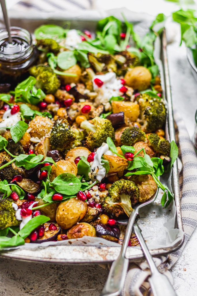 Balsamic Roasted Potato Aubergine and Broccoli Tray Bake