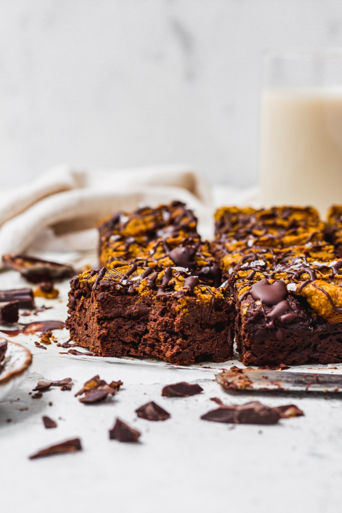Chocolate Pumpkin Swirl Brownies