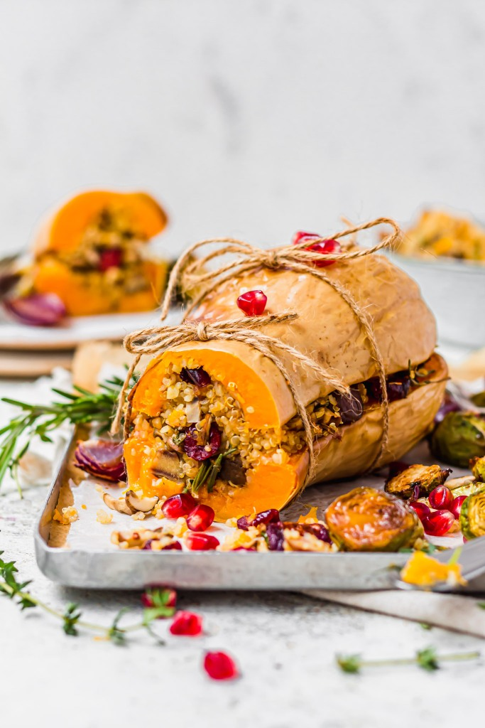Roasted Chesnut Cranberry Stuffed Squash