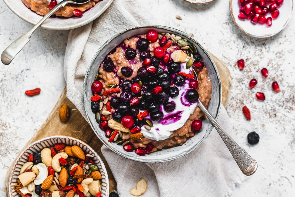 Blueberry Goji and Almond Rice Pudding