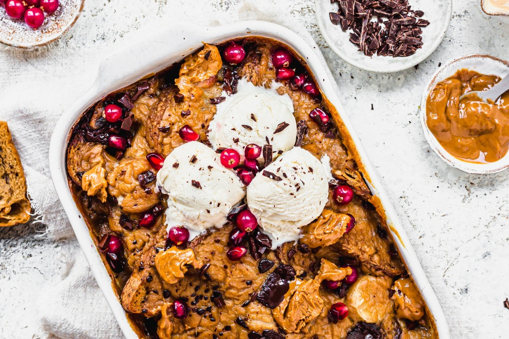 Peanut Butter Banana and Chocolate Bread and Butter Pudding