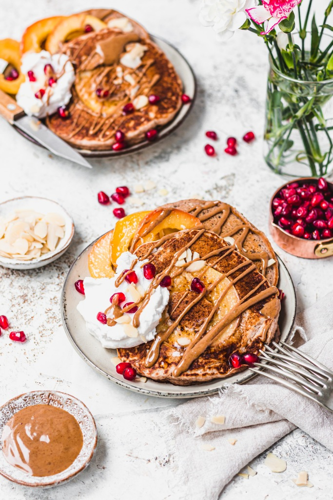 Vegan Caramel Apple Pancakes
