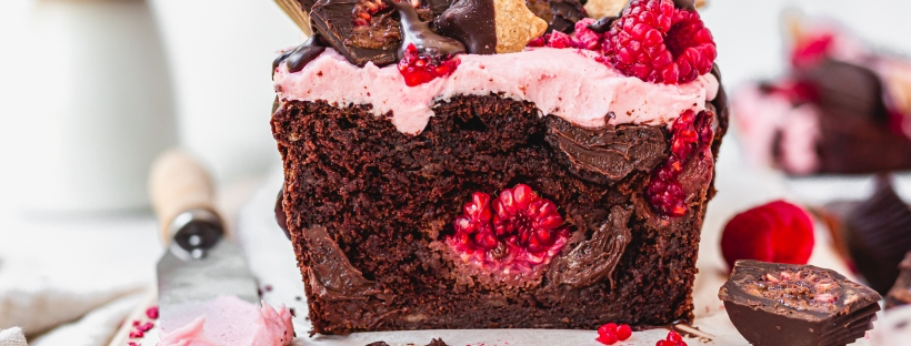 Dark Chocolate Raspberry Fudge Banana Bread