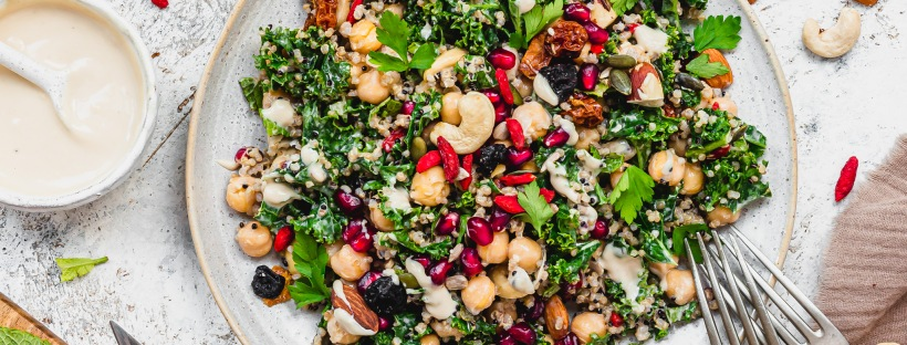 Garlicky Kale Tahini and Almond Salad