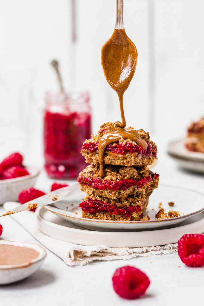 Almond Butter and Raspberry Crumble Bars