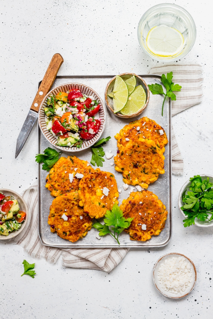 """Sweetcorn Fritters with Avocado, Tomato and """"Feta"""" Salad"""