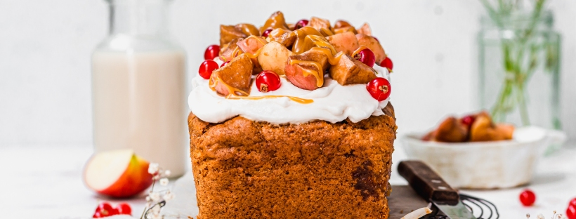 A Caramel Apple Loaf Cake on a wire rack